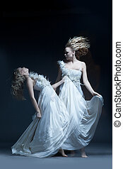 Dancing girl in wedding dress with multiexposition - Fine...