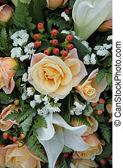 Roses and lillies in a bridal arrangement - White tiger...