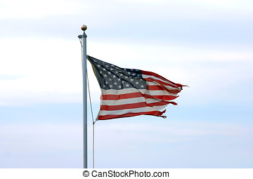 Tattered Glory - A much tattered but unbowed American Flag