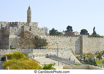 Jerusalem. - The Ancient Walls Surrounding Old City in...