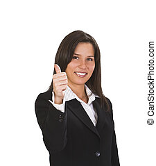 Success - Happy brunette businesswoman with thumb up...