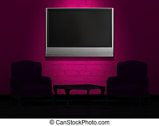 Two chairs and wood table with LCD tv on the wall in minimalist interior