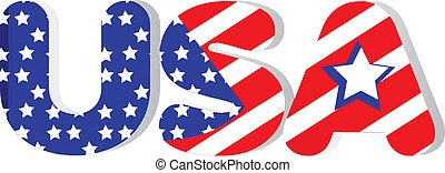 USA word in flag colors logo vector