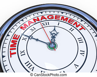 3d time management clock - 3d illustration of closeup of...