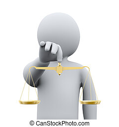 3d person and golden scale - 3d illustration of man holding...