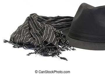 Black hat with striped muffler