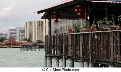 Georgetown Penang Waterfront View with Chinese Temple...