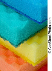 Sponges for cleaning, close up on white background