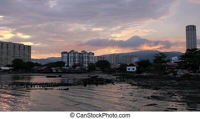 Sunset from Jetty in Penang - Colorful Sunset from Historic...