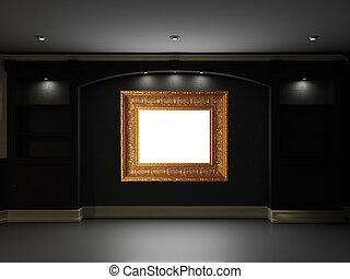 Home theater - Empty bookcase with illuminated LCD TV on the...
