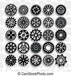 gears - the abstract image of technical silhouettes rotating...