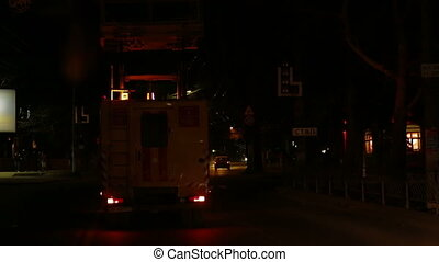 Emergency service truck working at night