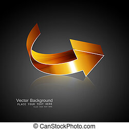 abstract 3d golden shiny colorful arrows reflection vector