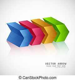 3d Abstract background colorful reflection arrow Vector
