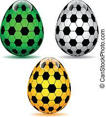 olor soccer Easter Eggs.Vector