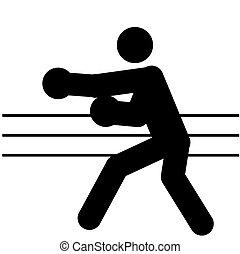 boxe - logo of boxe, black silhouette of a man
