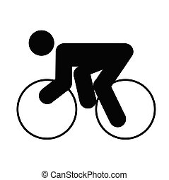 cyclist - logo of rider, black silhouette of a man