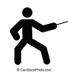 fencing - logo of fencing, black silhouette of a man with a...
