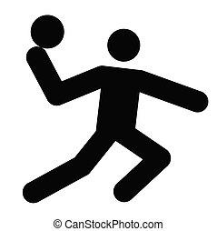 handball - logo of handball, black silhouette of a man