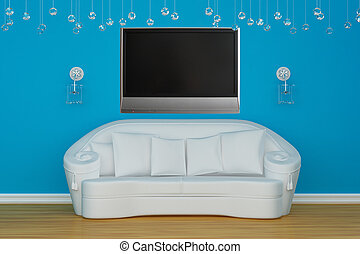 Sofa with sconces and LCD tv in blue minimalist interior