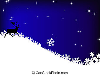 stars, reindeer and snowflakes on blue sky background -...