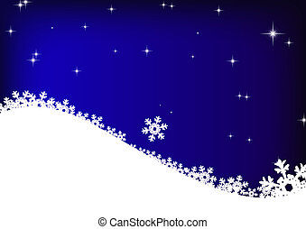 stars and snowflakes on blue sky background - illustration...