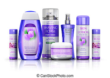 Cosmetics - Healthcare, body care and cosmetics concept: set...