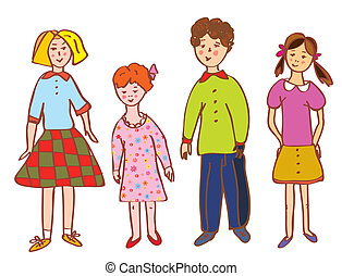 Funny children group cartoon in bright colors