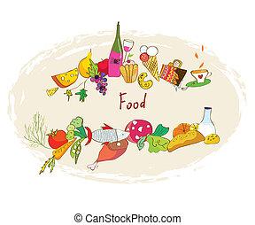 Food banner with meal, wine, desserts frame design