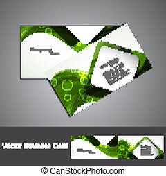 abstract green colorful wave marketing business card set...
