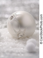 Silver christmas scene - Pretty christmas bauble on white...