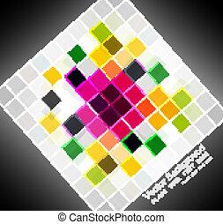 Abstract black bright colorful mosaic square circle vector