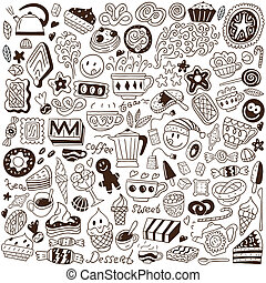 sweets - doodles set - sweets - set icons in sketch style