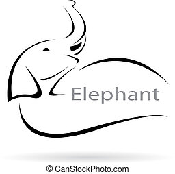 Vector image of an elephant on a white background