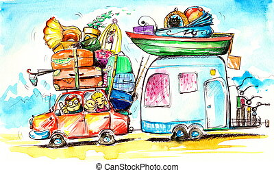 Travel - Happy family traveling on holidays.Picture created...
