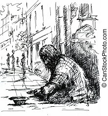 Beggar on the street.Picture created with pen.