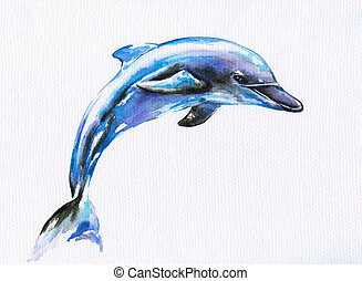 Dolphin - Jumping blue dolphin.Picture I have created with...