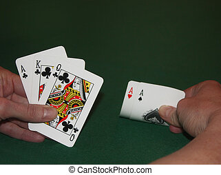 A Winning Hand? - Horizontal colour image of a poker hand...