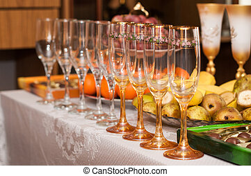 Wine glasses on the table Serving fruit and salads