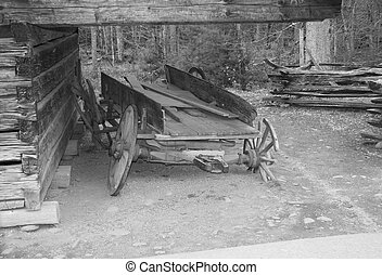 old wagon - an oldtime wagon and barn