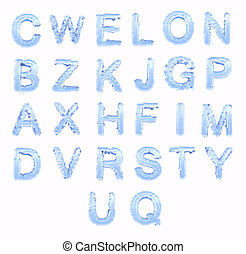 Ice font. Upper case, isolated on white background