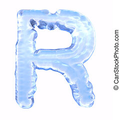Ice font. Letter R. Upper case, isolated on white background