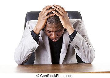 triste, cansadas, ou, deprimido, homem negócios