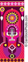 Totem - abstract vector painting - Totem pole. Man Portrait...
