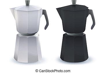 pote, café, vetorial, pretas, branca