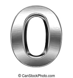 Metal number - 3d steel number - isolated on white...