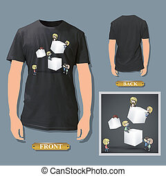 Kids holding cubes printed on white shirt. Vector design.