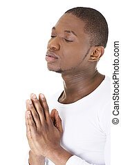 Man Praying, isolated on white