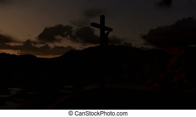 Jesus on Cross, timelapse sunrise, camera fly
