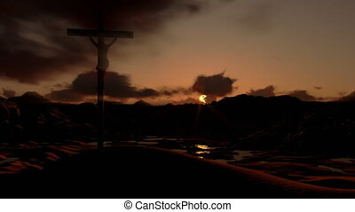 Jesus on Cross, timelapse clouds at sunset